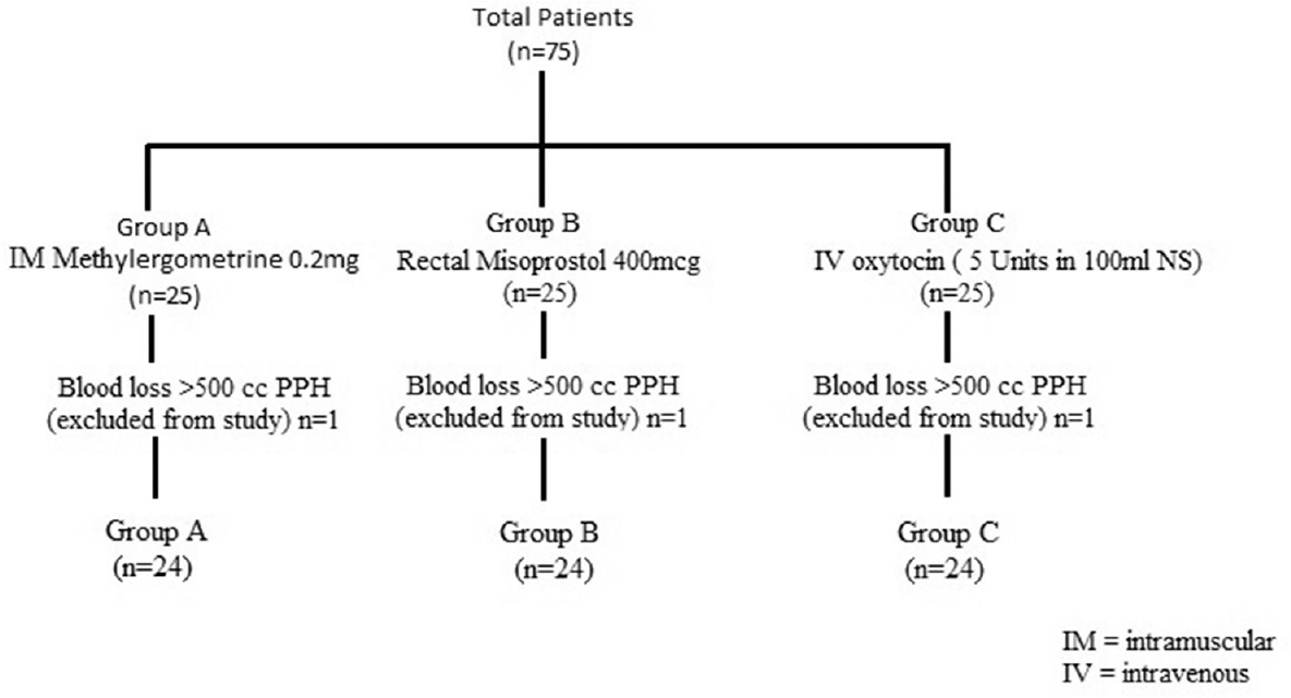 Figure 1: Flowchart showing group distribution of the patients
